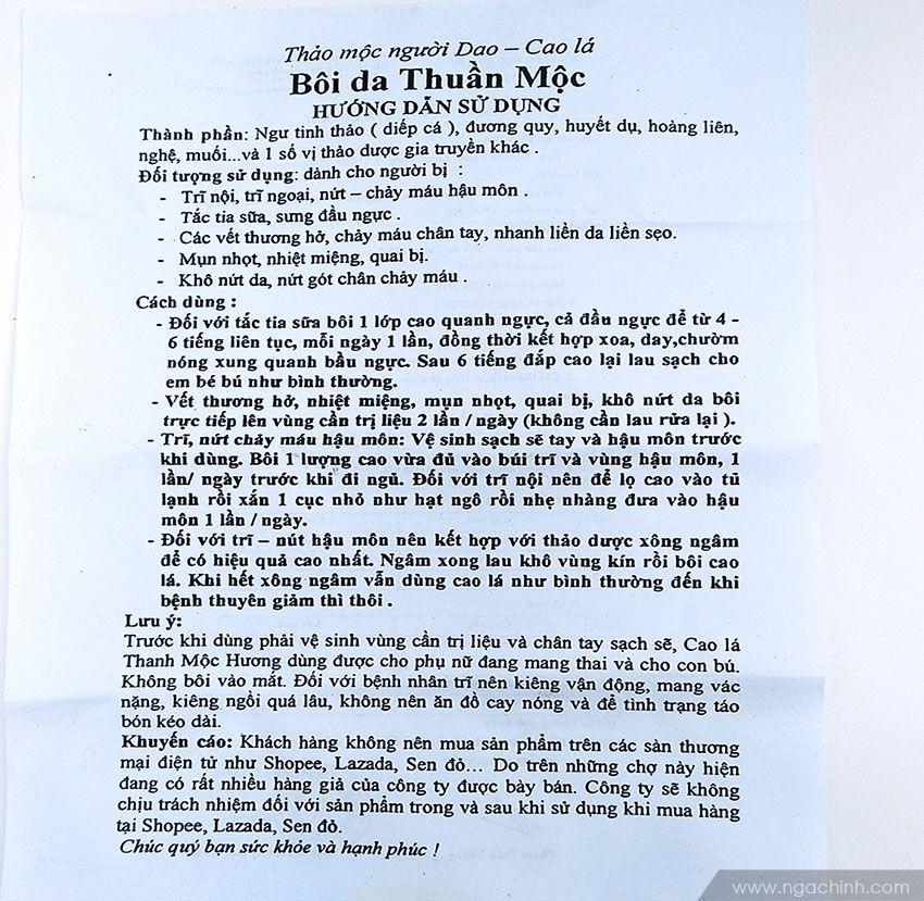 Hướng dẫn sử dụng cao lá Thuần mộc Thanh Mộc Hương